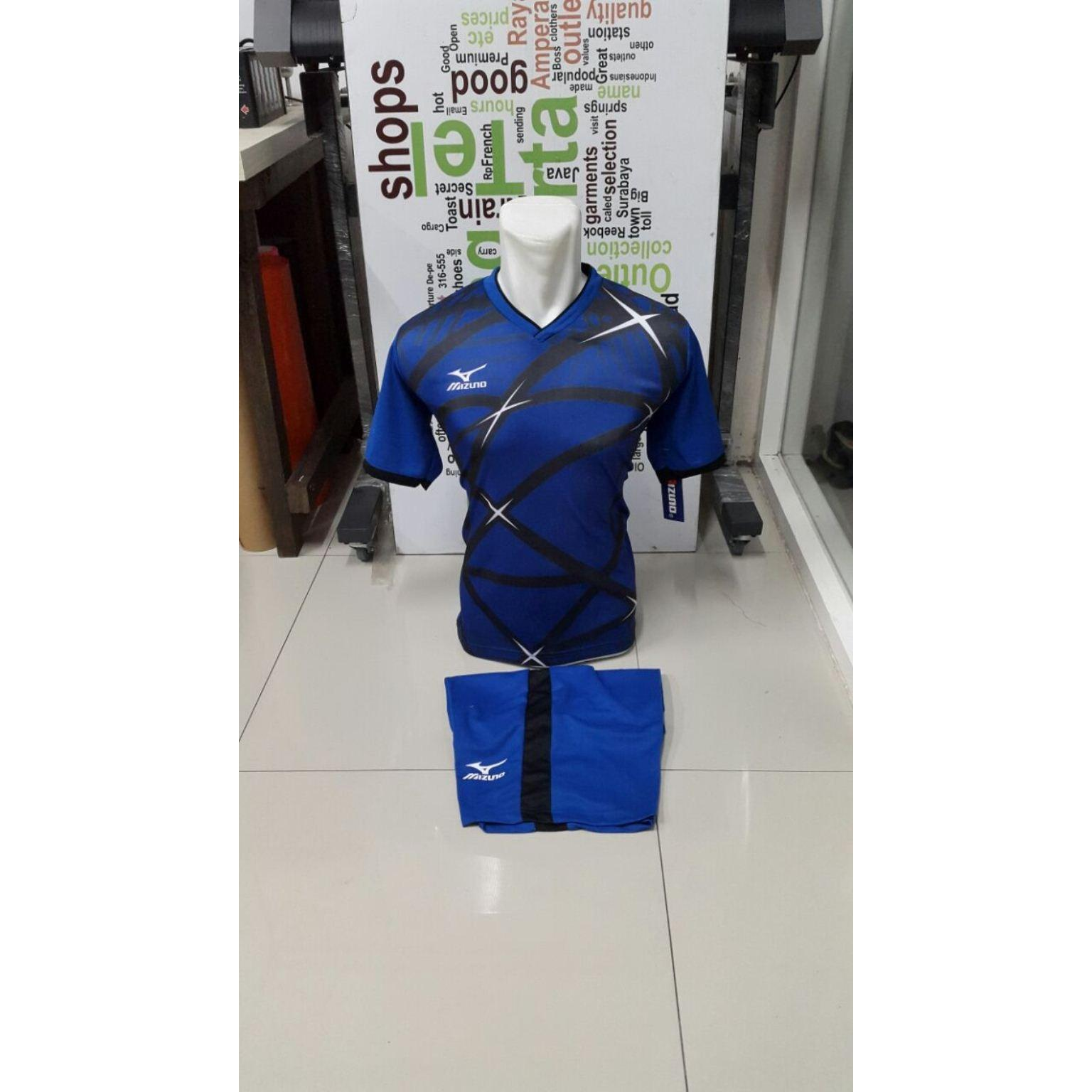 Kostum Kaos Sepakbola Futsal Volly Takraw Bahan Dryfit M L XL Hijau/Merah/Biru/Kuning Hitam Plus Celana Pendek 24.42