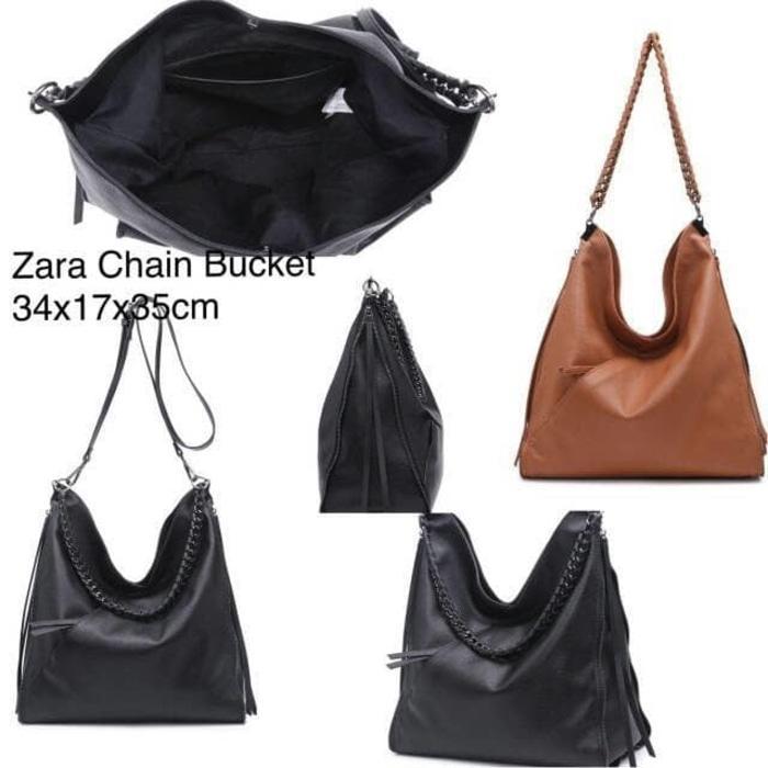 ASLI!!! tas zara chain bucket original basic rante rantai ori hobo bag import