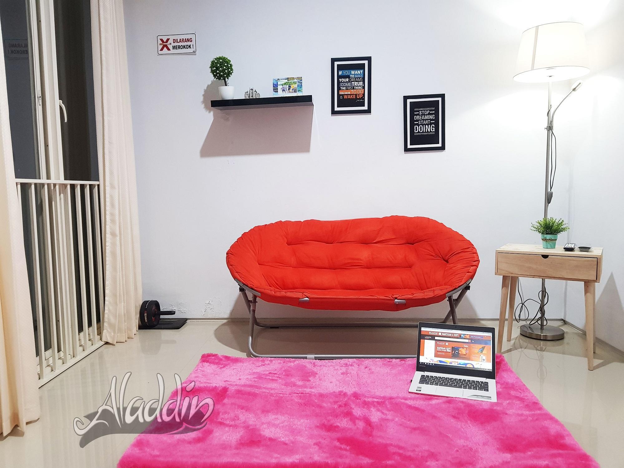 Aladdin - Karpet bulu rasfur lembut busa empuk (100x150x2cm) bintik super / karpet lantai