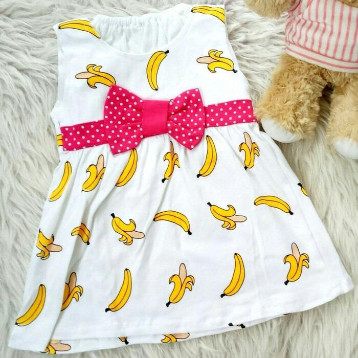 Jual Dress Baju Bayi Anak White Belt Banana Dki Jakarta Murah