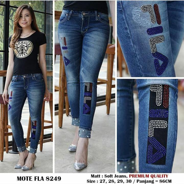 JHF - Jeans wanita - FL Mutiara stik balik - Soft jeans impor