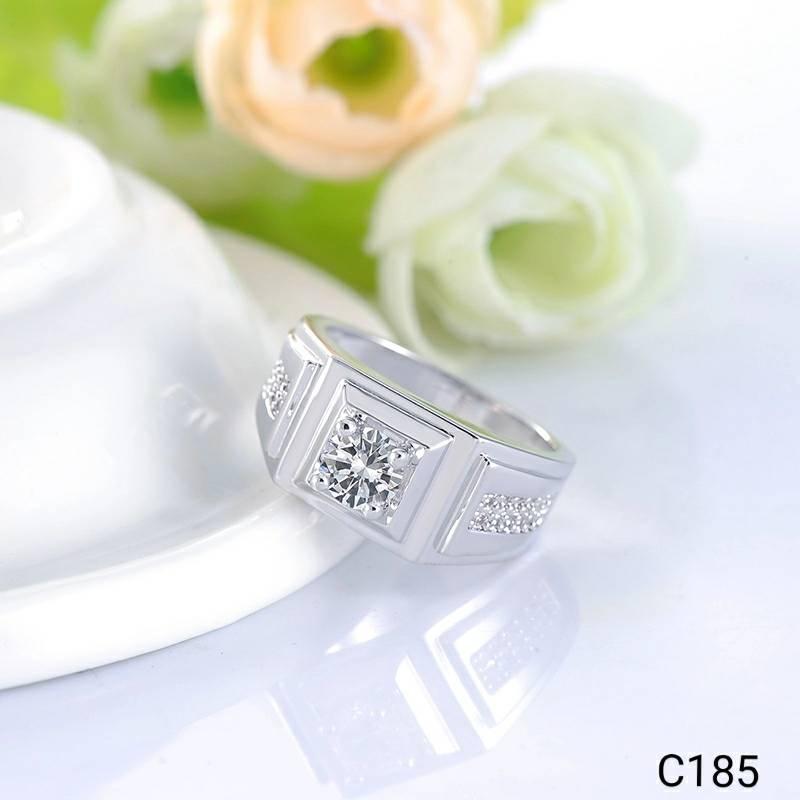 NEW Promo Perhiasan Cincin Unisex Pria Lapis Emas Putih Batu Cubic Zirconia AAA C185 Murah