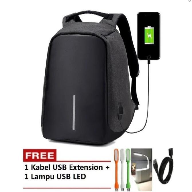 Tas Model Punggung XD Ransel Backpack Anti Theft / Maling Laptop Bag FREE LAMPU USB LED