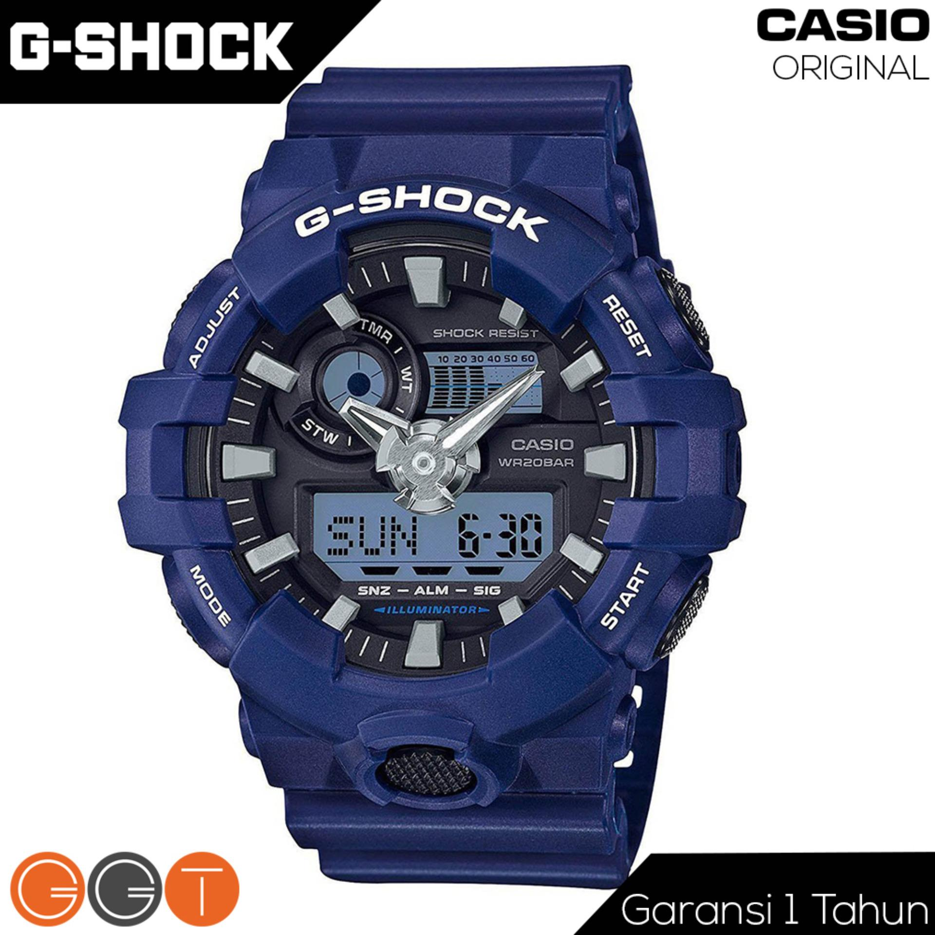 Toko Casio G Shock Dual Time Resin Starp Quartz Movement Jam Tangan Pria Ga 700 2A Navy Blue Online Terpercaya
