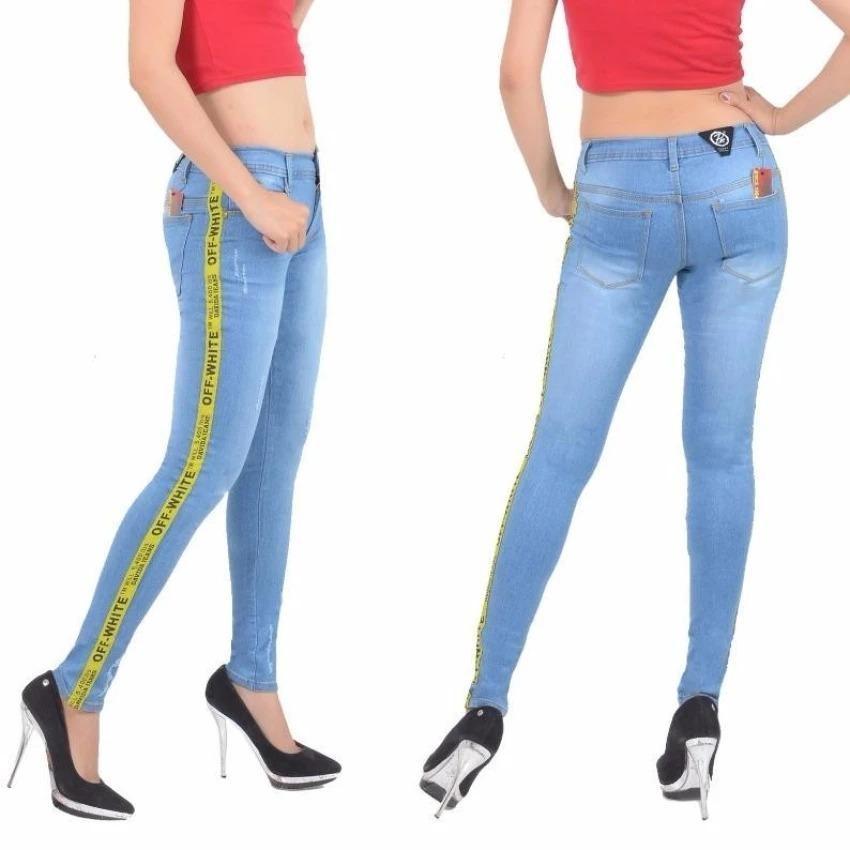 Review R2G Store Jeans Celana Wanita Model Terbaru List Off White Rawis Biru Aqua Jeans Wanita Di Indonesia