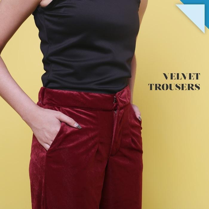 Detail Gambar Velvet Trousers Celana Panjang Premium Wanita JP204 Terbaru