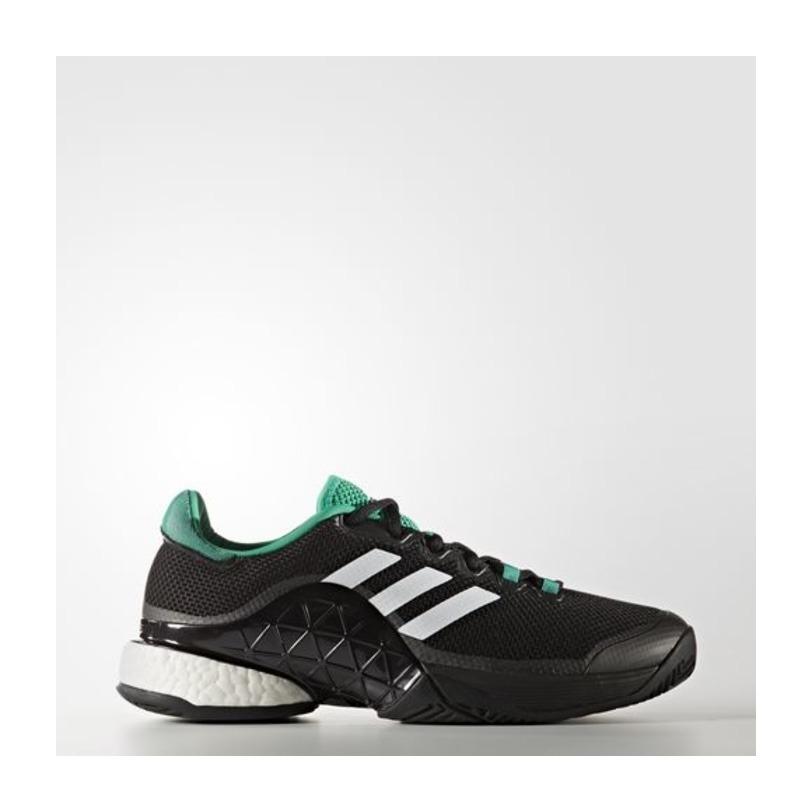 Sepatu Tennis Adidas Barricade 2017 Boost - Black/Green Original