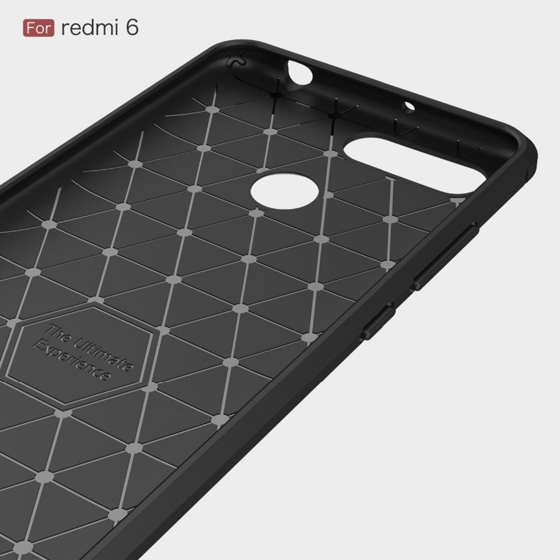 RenzanaAcc Premium Quality Carbon Shockproof Hybrid Case for Xiaomi Redmi 6 - Black .