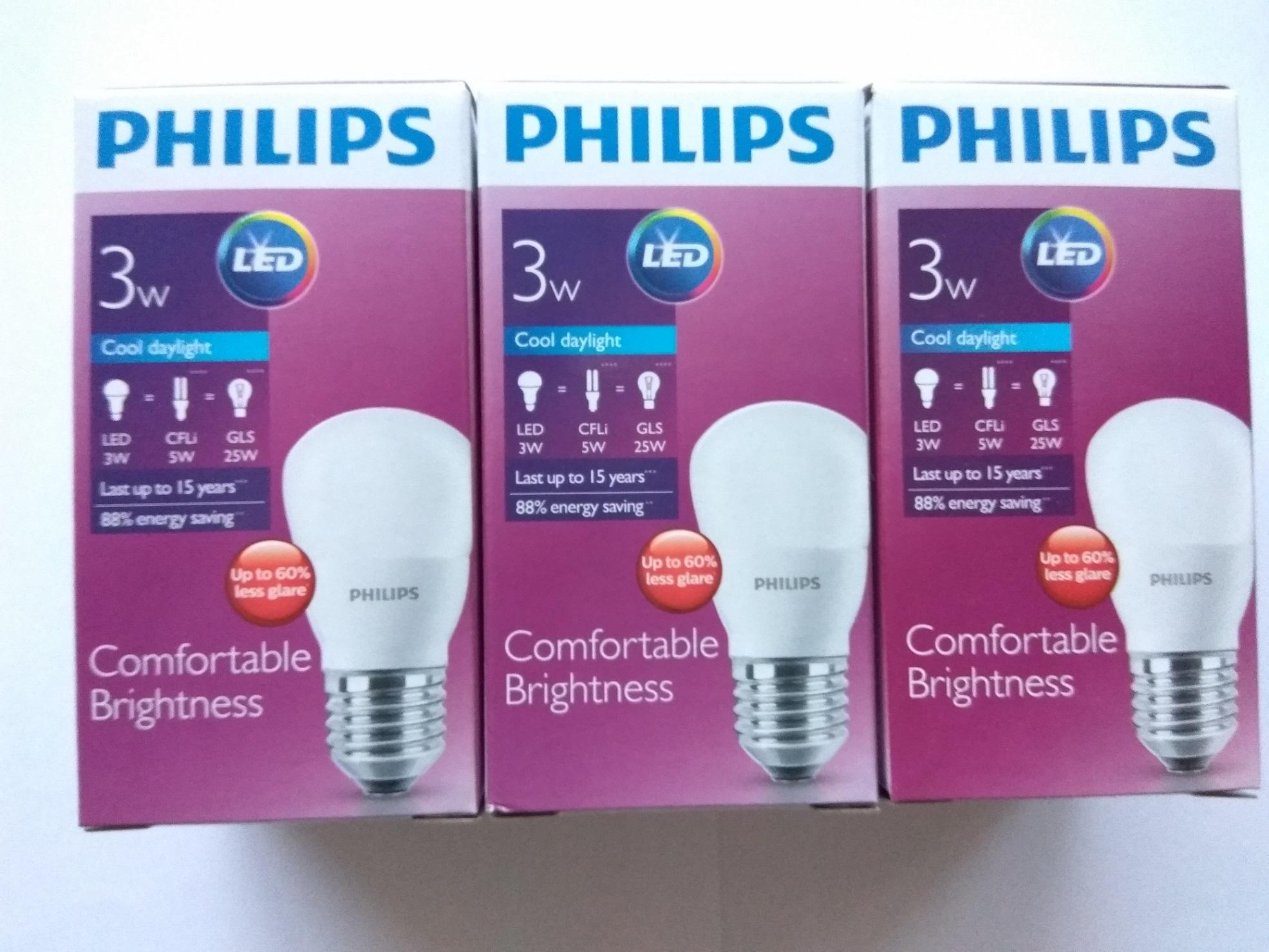 Paket Philips Lampu LED 3w 3pcs - White