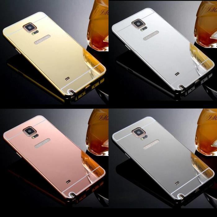 Case Mirror Samsung Galaxy Note 4 Alumunium Metal Bumper