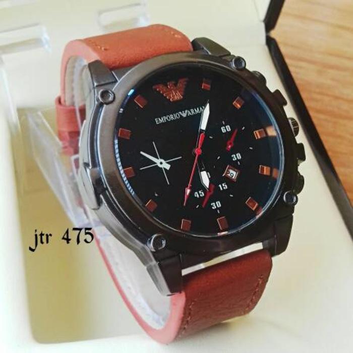 jam tangan emporio armani cowok / jtr 475 coklat