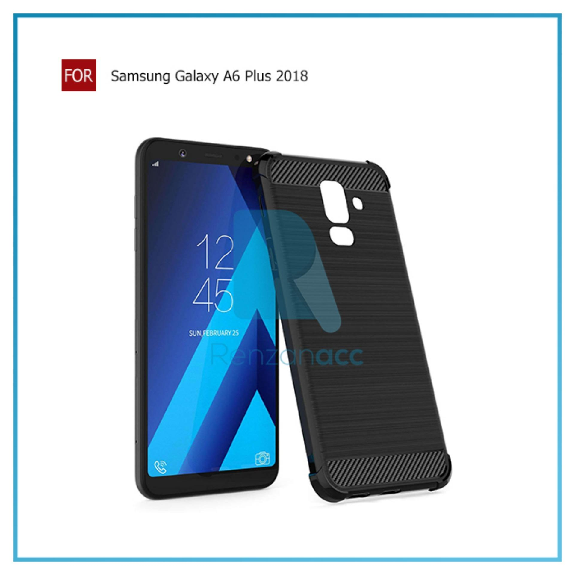 Renzanaacc Brushed Corner Protection Cushion Premium Carbon Shockproof TPU Case For Samsung Galaxy A6 Plus 2018