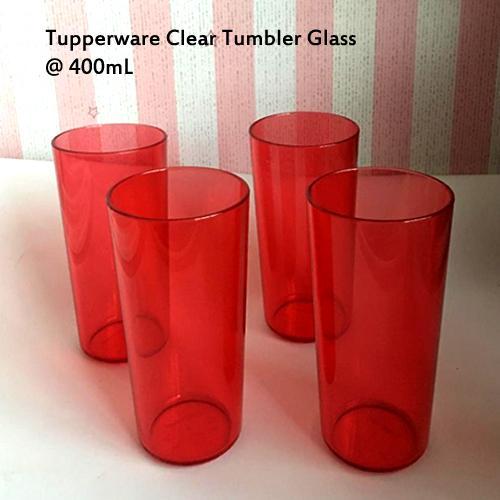 Tupperware Clear Tumbler Glass 400mL - 4pcs Gelas Activity