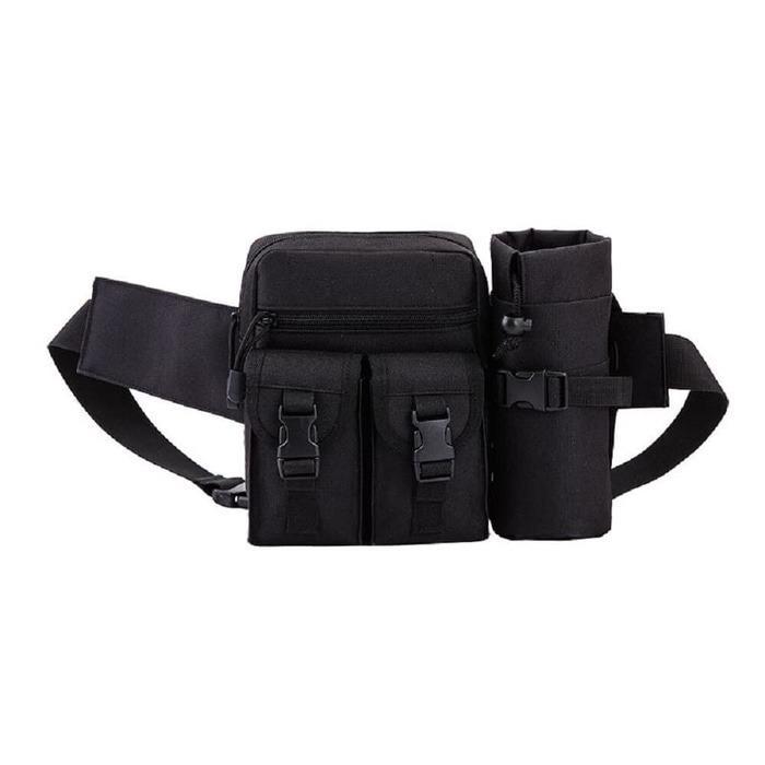 Gambar Produk Rinci Waist Bag Tas Pinggang Tactical Army Include Tas Botol Warna Khaki WMP-0936-K Terkini