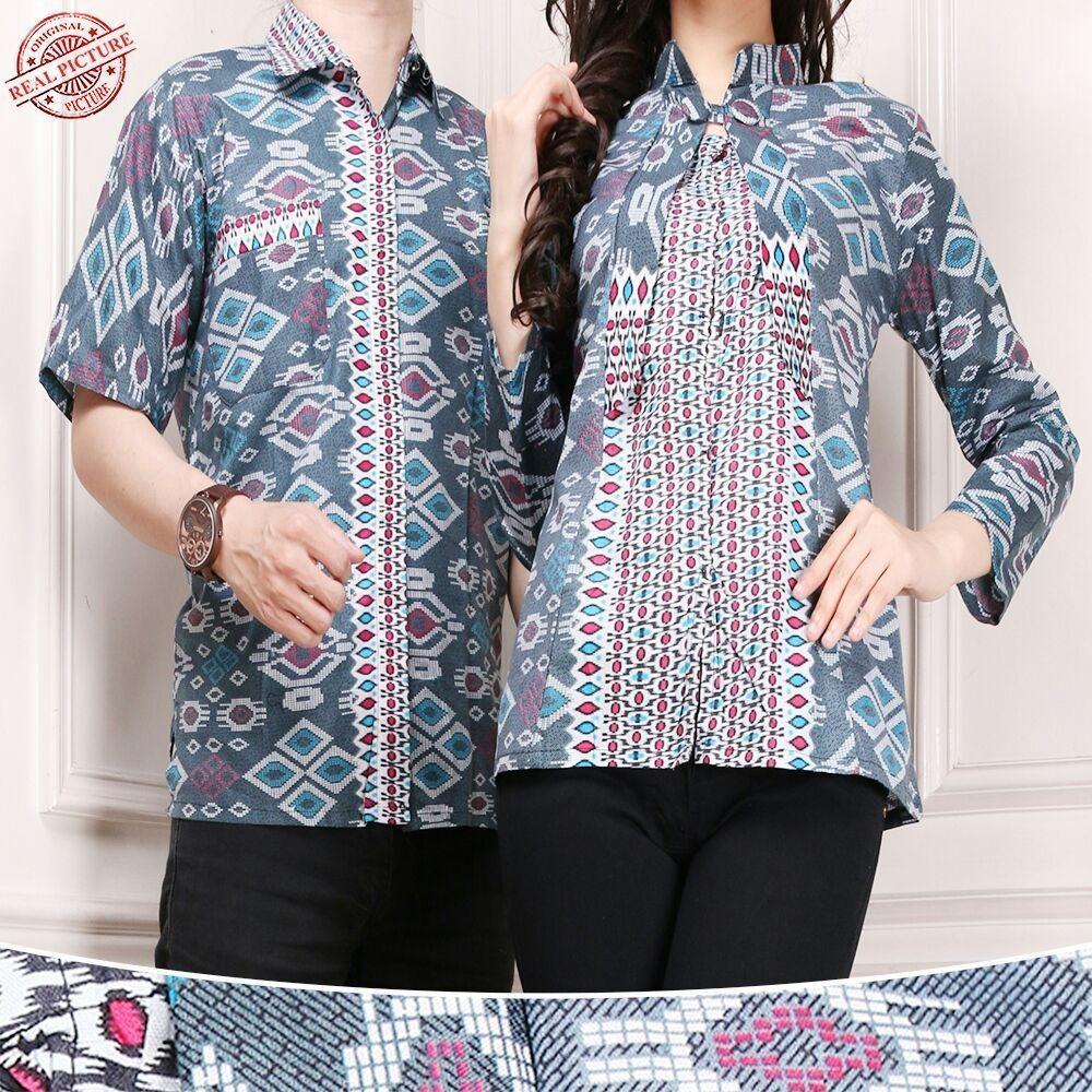 Sb Collection Couple Atasan Birgita Blouse Dan Kemeja Batik Pria Murah