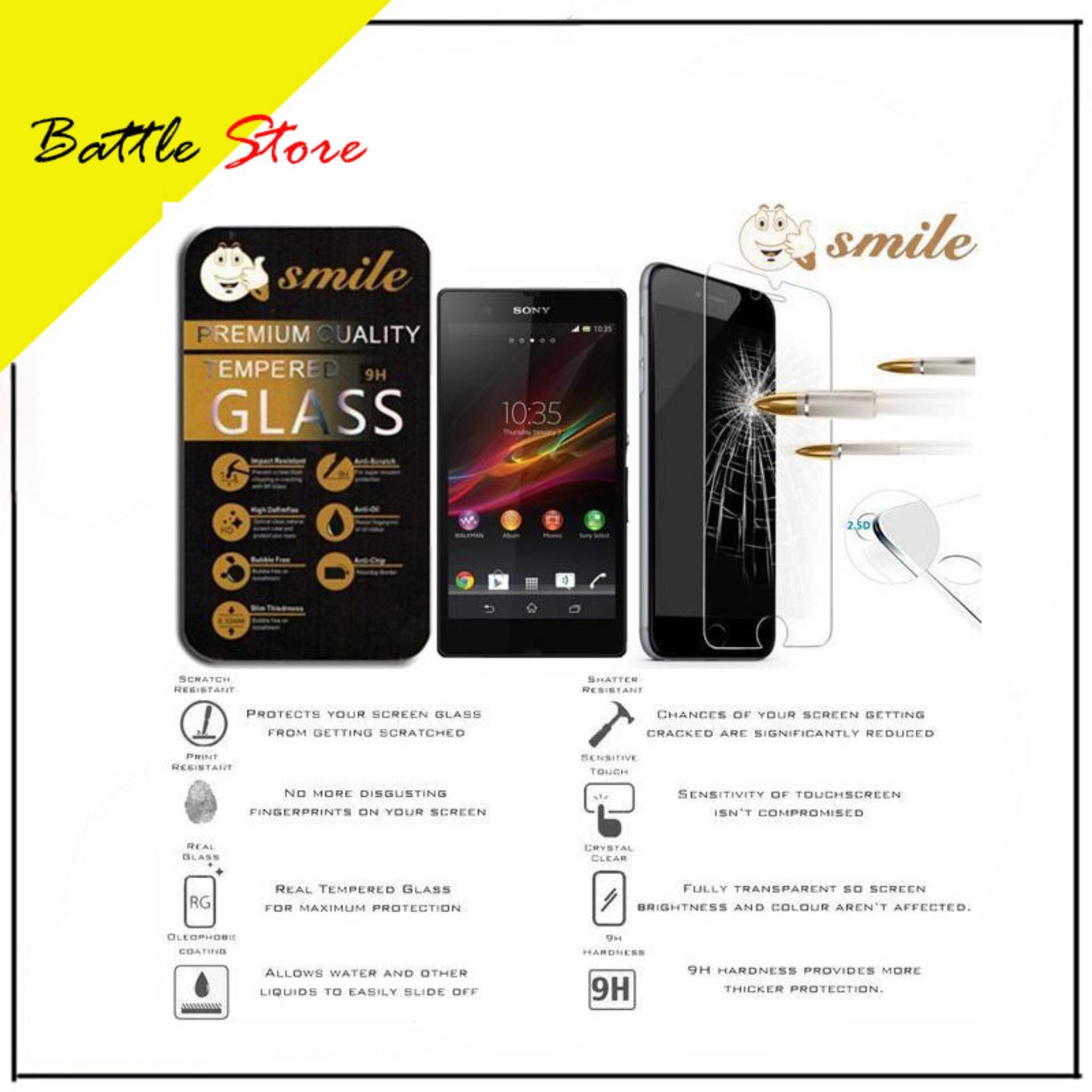 Gambar Produk Rinci Smartfren Andromax Q 4G LTE Premium Smile Screen Protector Tempered Glass / Anti Gores Kaca - White Clear Terkini
