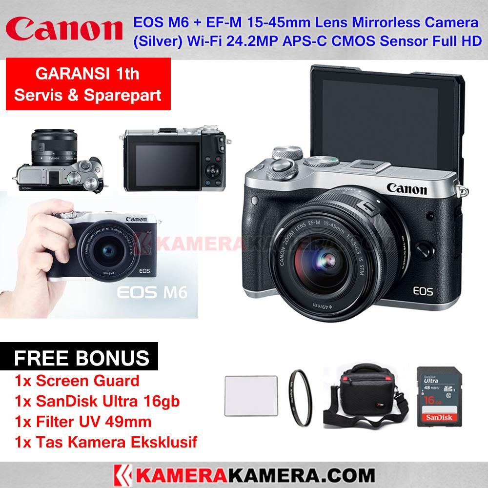Canon EOS M6 EF-M 15-45mm Lens Mirrorless Camera Wi-Fi 24MP - Garansi 1th + Screen Guard + SanDisk Ultra 16gb + Filter UV 58mm + Tas Kamera Eksklusif