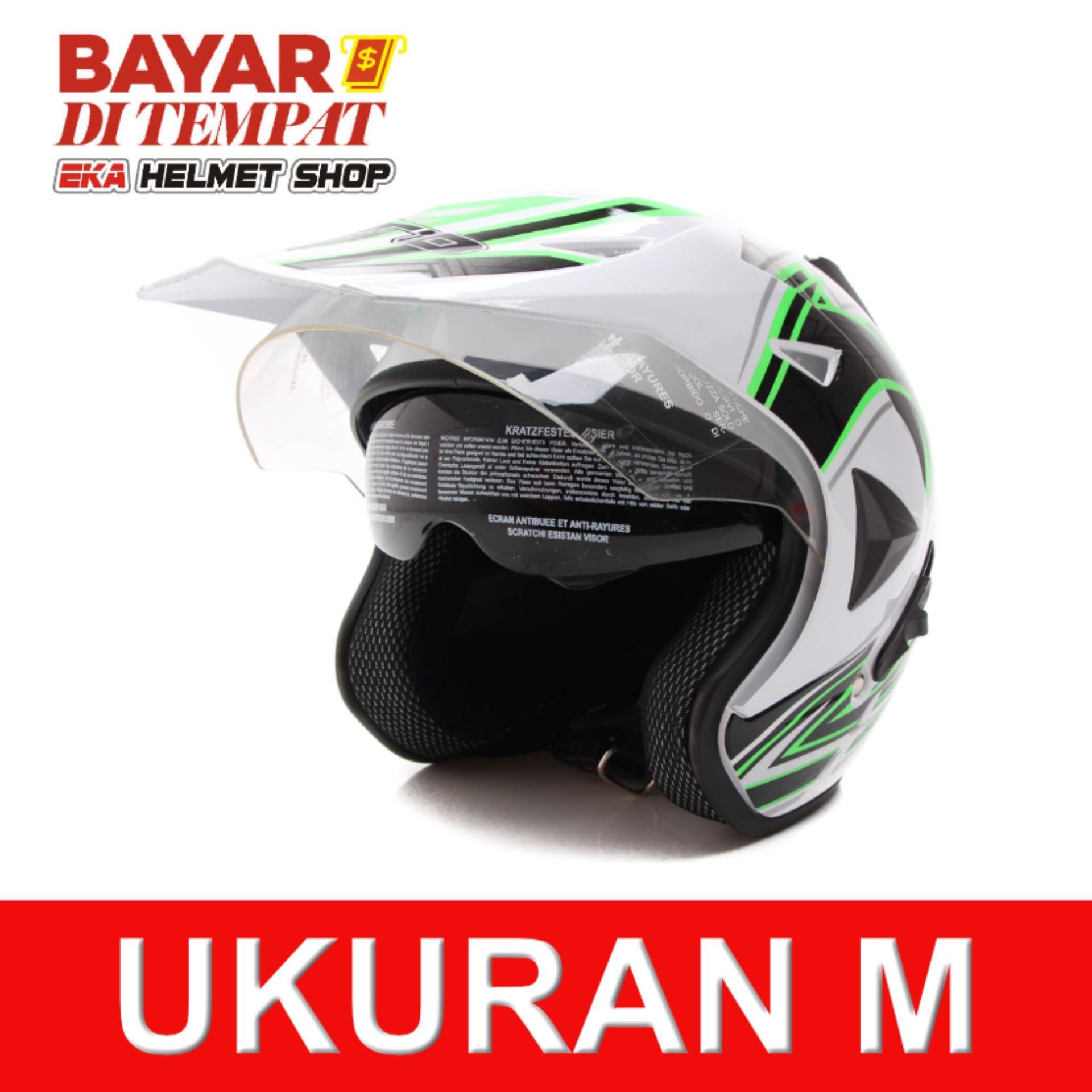 Wto Helmet Pro Sight Cross Putih Hijau Terbaru