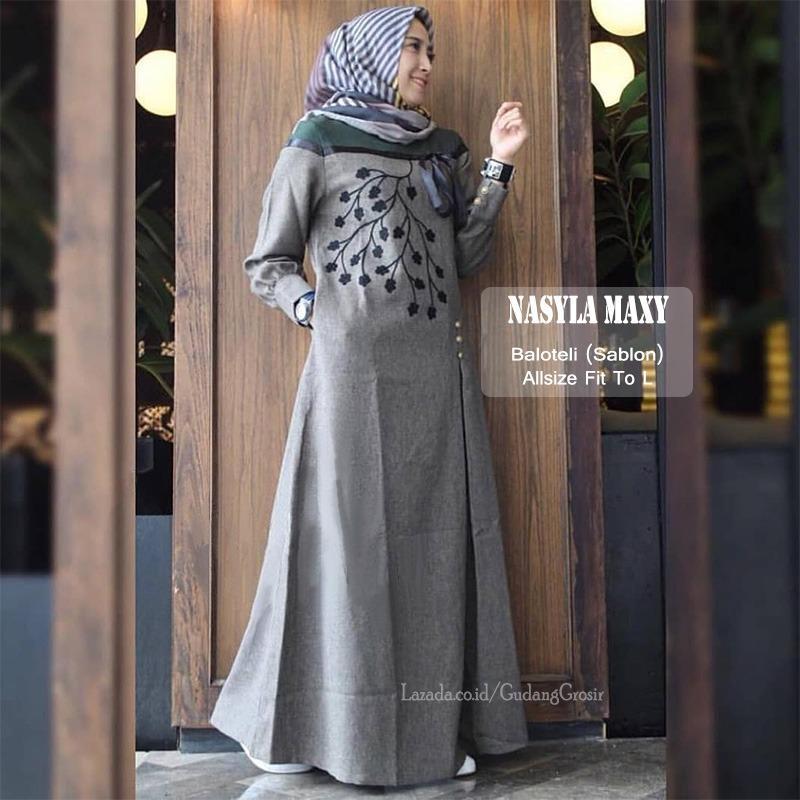 GudangGrosir Long Dress Muslim Nasyla Maxy Bahan Baloteli Warna Maroon - Abu