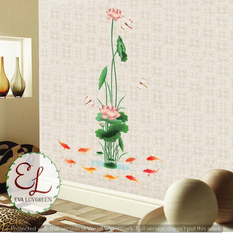 Detail Gambar Eva Luvgreen Wallsticker Teratai 9 Ikan Koi Ukuran 60x90cm/ Stiker Dinding/ Stiker Tembok/ Wallpaper Sticker/ Wall Paper Sticker/ Wall Sticker ...