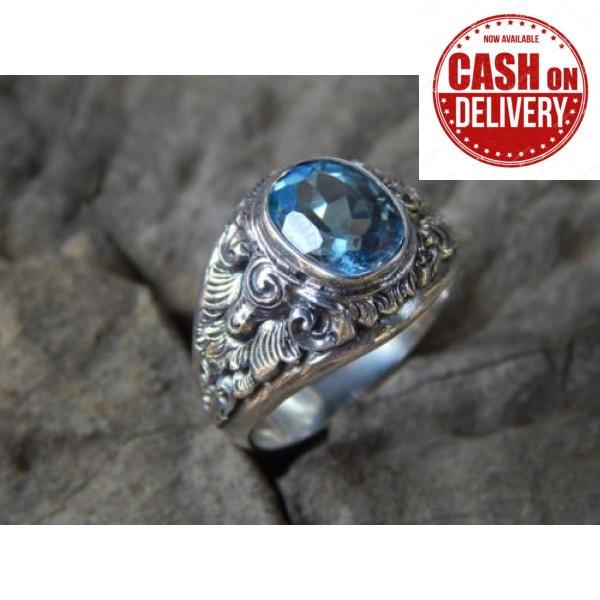 Spek Jnanacrafts Cincin Perak Ukir Bali Batu Blue Topaz
