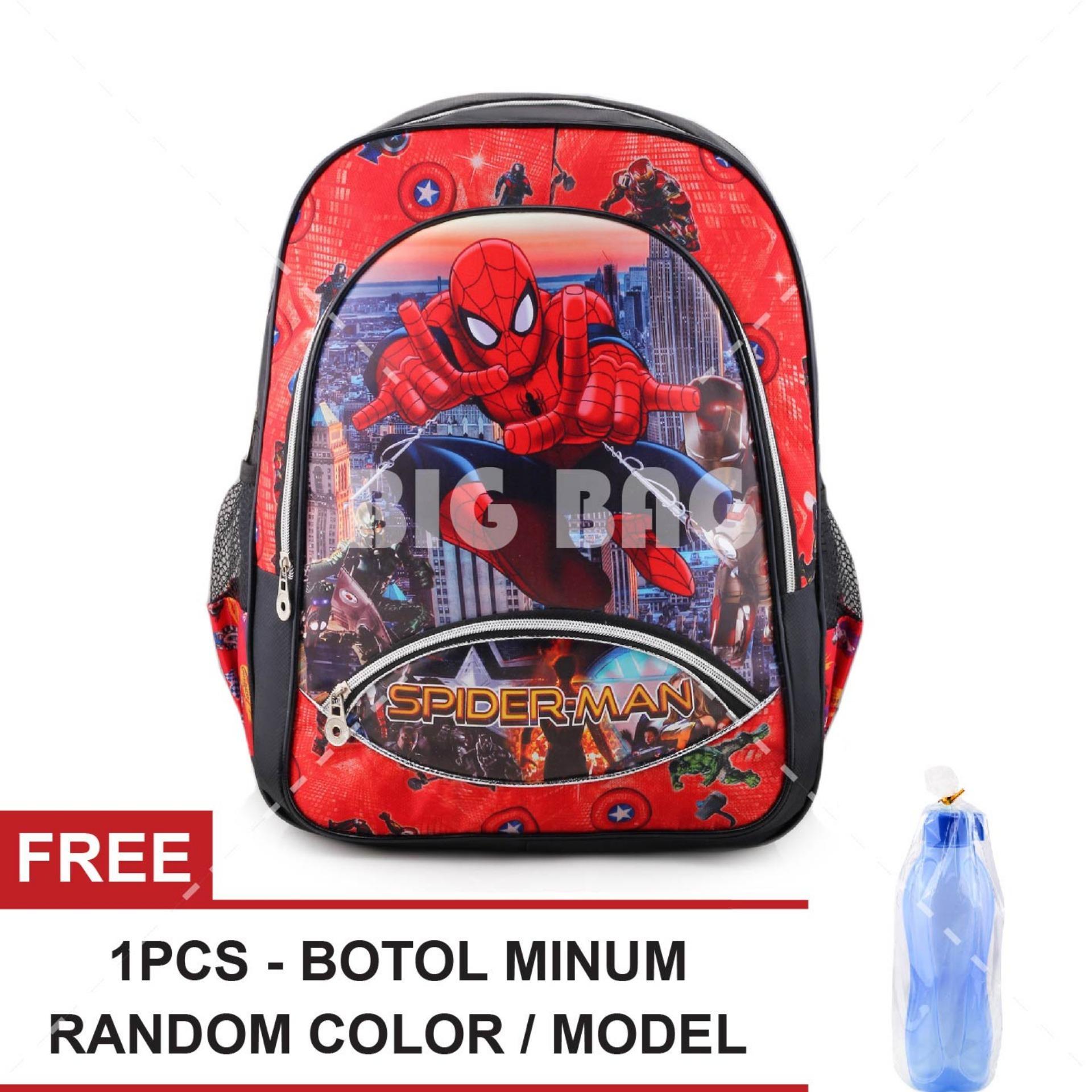 Harga Tas Ransel Anak Spider Man Flying High Sch**l Bag Tas Sekolah Anak Red Free Botol Minum Random Color Model Baru Murah