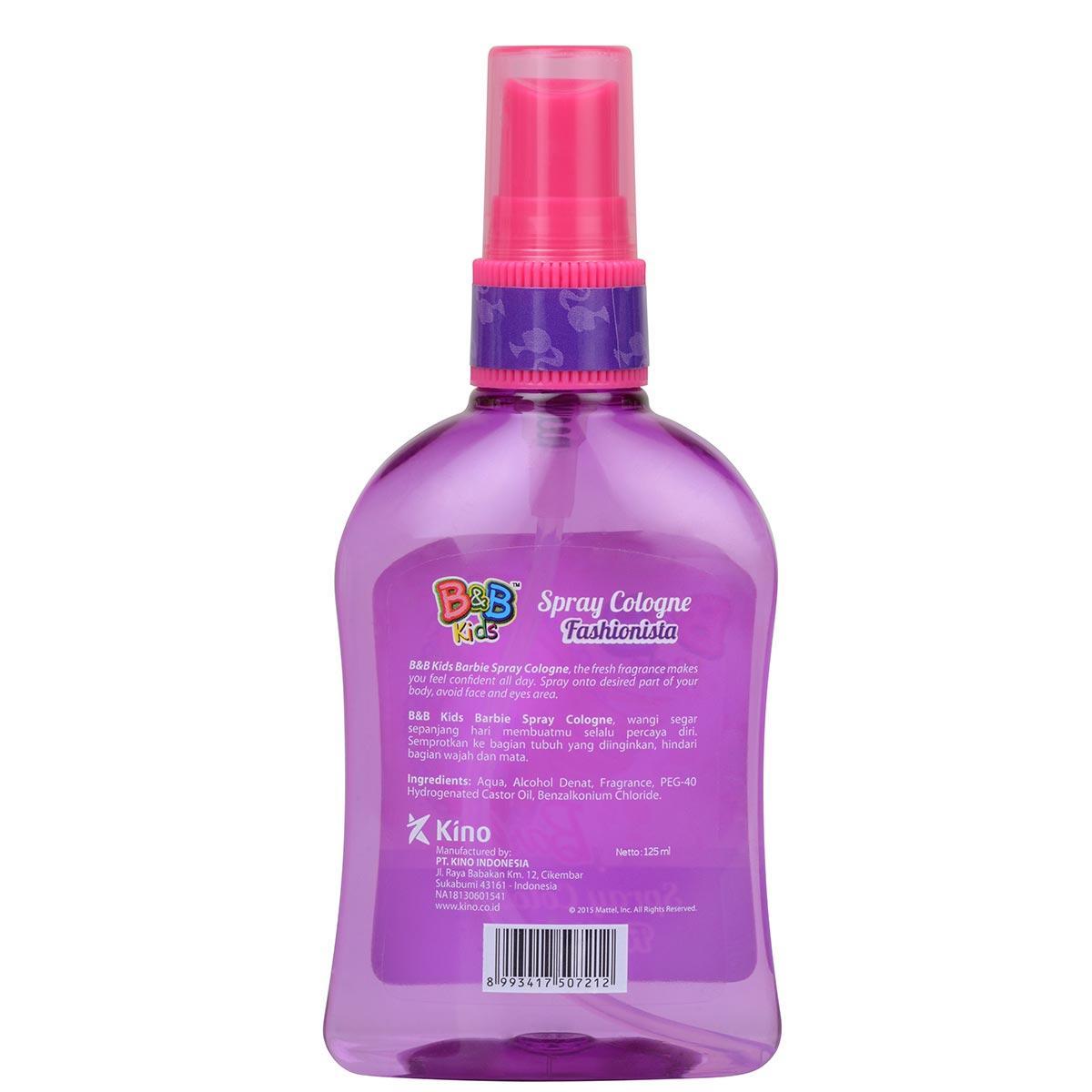 Fitur Bb Kids Barbie Spray Cologne Fashionista Botol 125 Ml Dan Minum New B Dengan 600ml 2