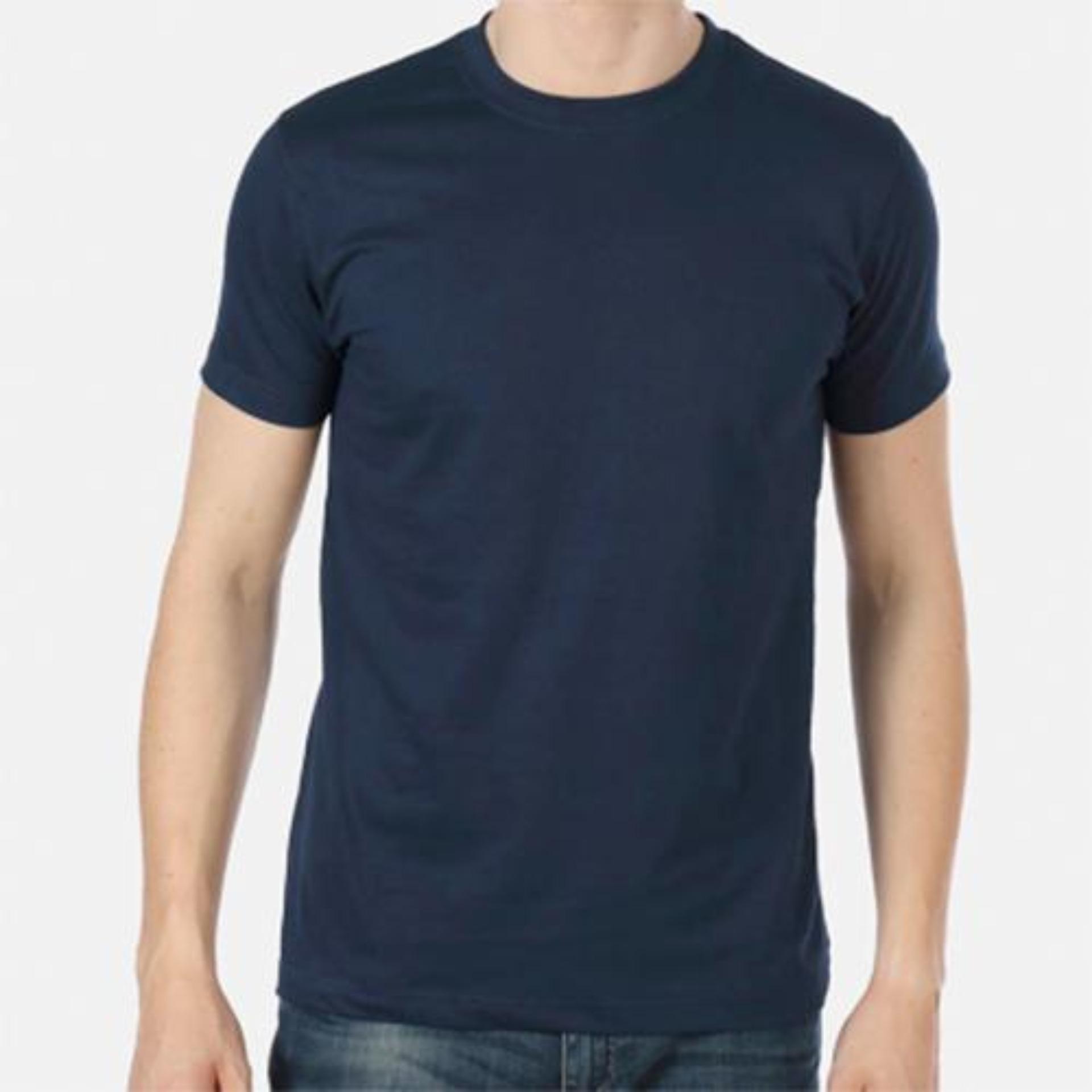 Kaos oblong navy biru Dongker polos pria elastis