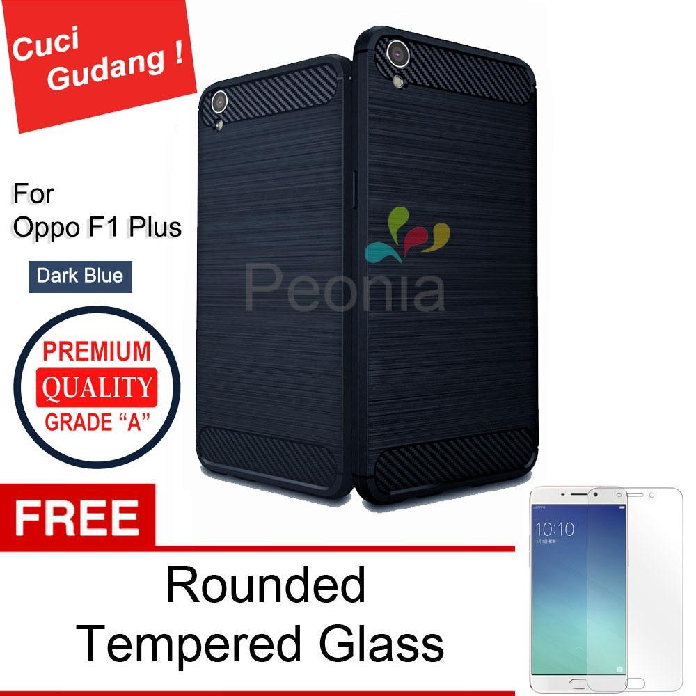 Peonia Carbon Shockproof Hybrid Premium Quality Grade A Case for Oppo F1 Plus / R9 ( Sama ukuran ) - Dark Blue + Rounded Tempered Glass 2.5D Bening