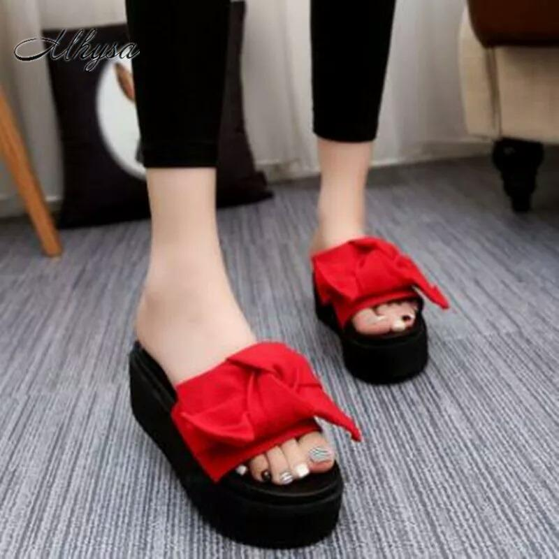 Diskon Wedges Velvet Ribbon Terlaris Murah Gws 1195 Merah Indonesia
