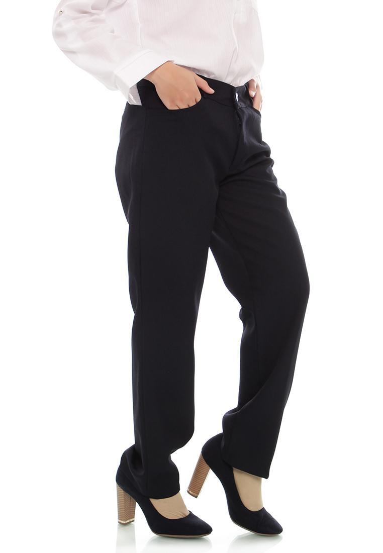 Fitur Celana Kerja Wanita Bahan Formal Pinggang Kancing Karet Jumbo Sleting Tebal 3