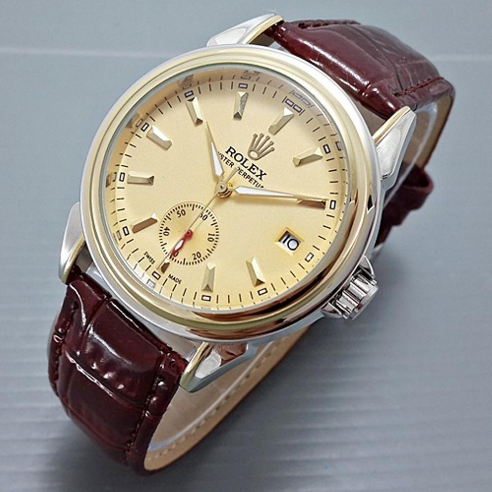 Jam Tangan Automatic Rolex Oyster Perpetual R1154 Chrono Detik - Leather Maroon