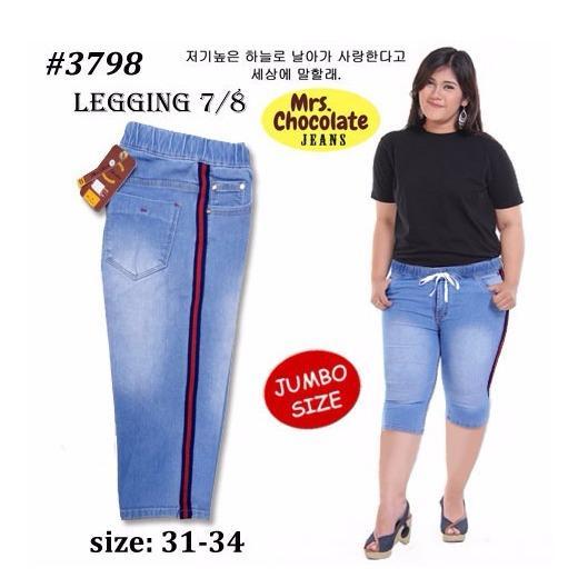BNTG-Celana-Jeans Wanita 7/8 List Samping Ukuran Jumbo.