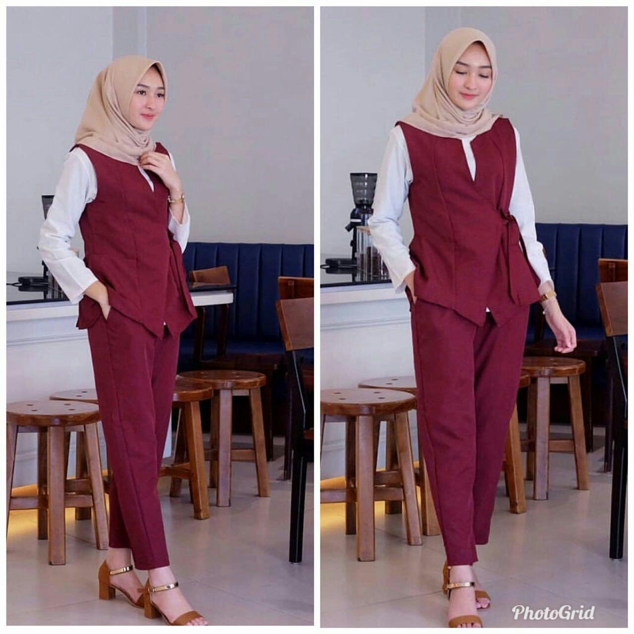 Kelebihan Jc Setelan Shania Batik Kulot Celana 1 Baju Hijab Febiola Wanita Muslim Rompi
