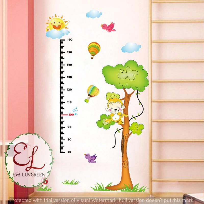 Detail Gambar Eva Luvgreen Wallsticker Anak Pengukur Tinggi Badan Monkey Ukuran 60x90cm/ Stiker Dinding/ Stiker Tembok/ Wallpaper Sticker/ Wall Paper ...