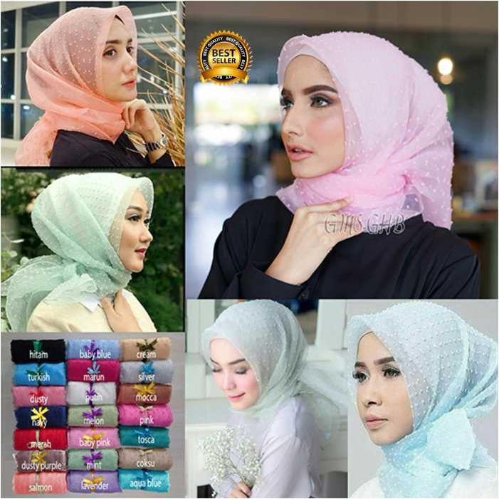 Premium Jilbab Kerudung Instant Syari (Jilbab Syar'i) Hijab Instan Segiempat Organza Dot Toko Berkah Online