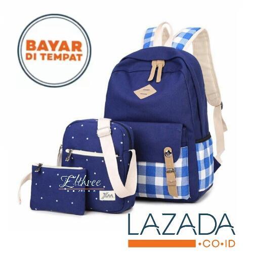 Elthree Tas Punggung Wanita 3in1 Polkasarung Backpack Ransel Tas Punggung  Beranak Tas Sekolah 360bd11a29