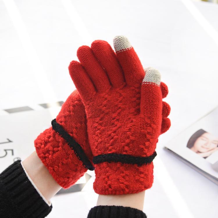 Sarung Tangan Bulu Women Are Tebal Musim Gugur atau Dingin (Model Musim Dingin Bulu Layar