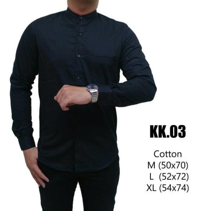 kemeja pria warna hitam lengan panjang kerah shanghai model baju koko