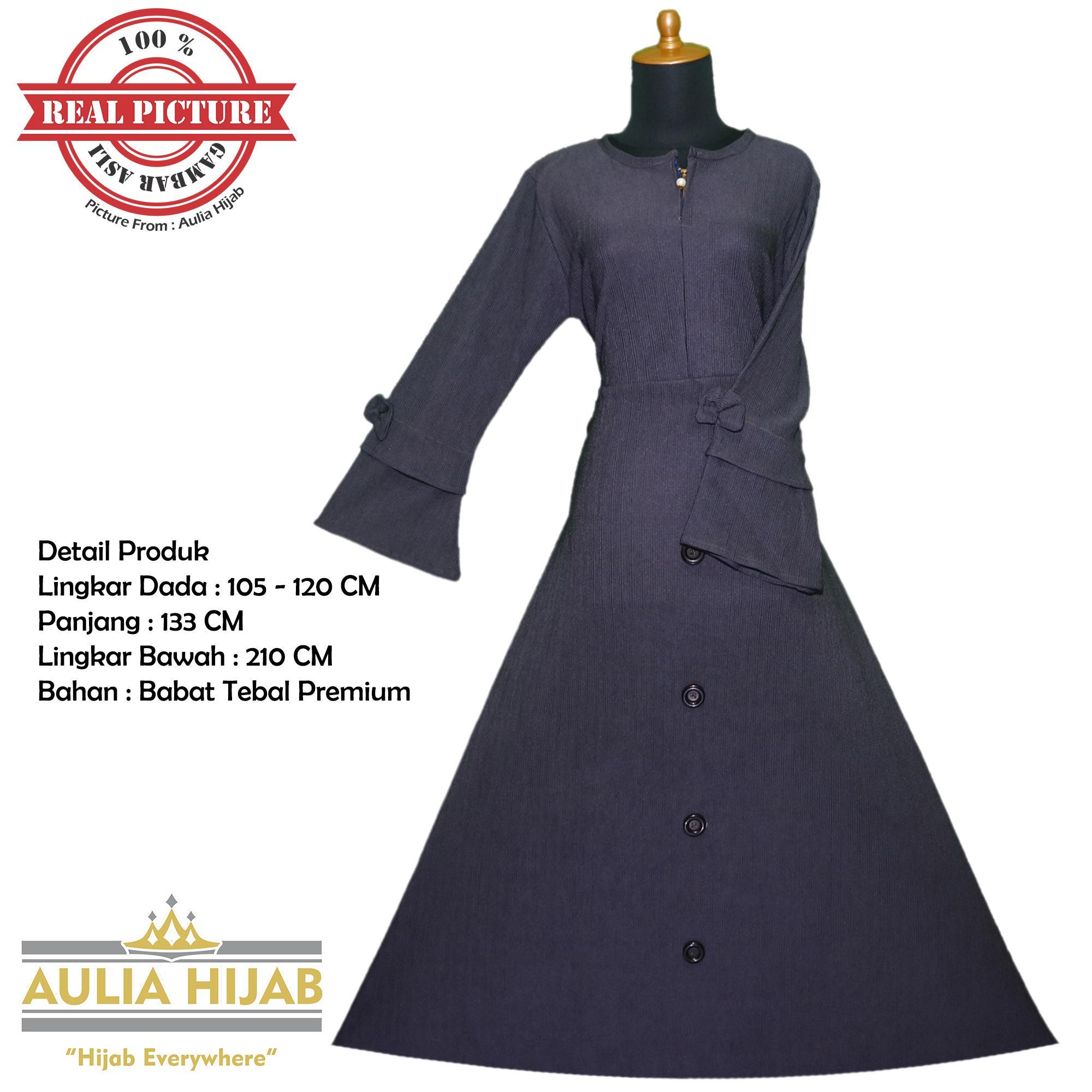 Fitur Aulia Hijab Restock Gamis Aulia Dress Bahan Babat Tebal