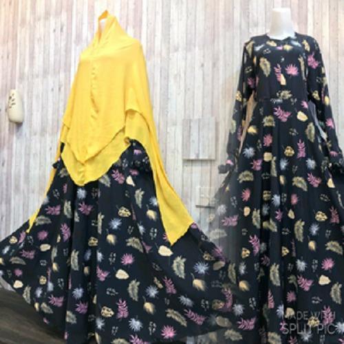 Beli Adzra Gamis Murah Syari Busana Muslim Wanita Nahira Dress Dongker Murah Indonesia