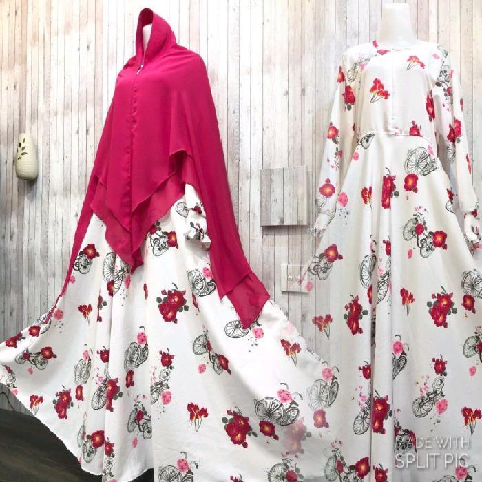 Toko Adzra Gamis Murah Syari Busana Muslim Wanita Salma Dress Putih Terlengkap Di Indonesia