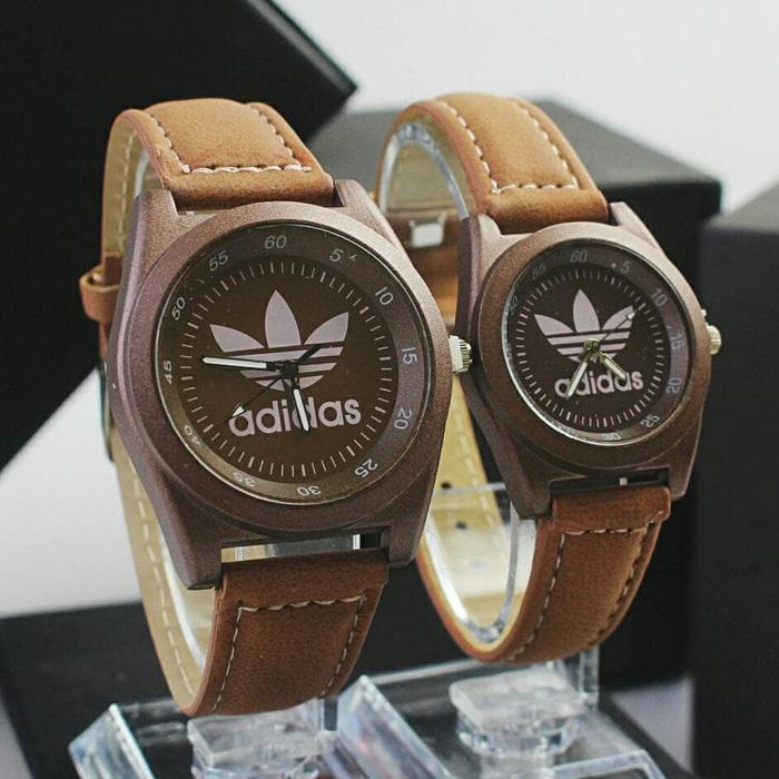 jam tangan couple adidas** / jtr 978 coklat