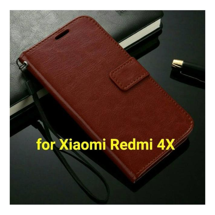 Review Toko Casing Hp Xiaomi Redmi 4X Flip Leather Wallet Case Online