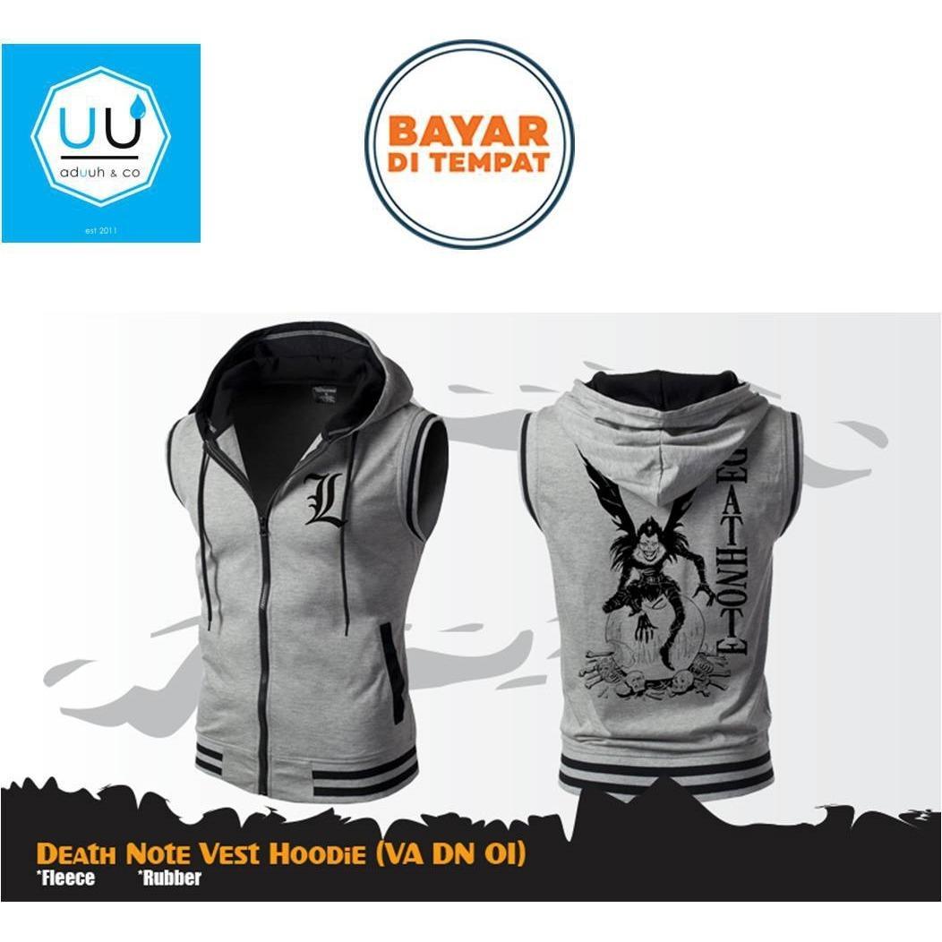 Jaket Rompi Anime Hoodie Zipper DEATH NOTE Style L Best Seller Vest ( VA DN 01 ) - Grey