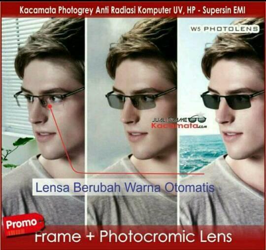 kacamata antiradiasi berubah warna grey (frame + lensa photocromic)