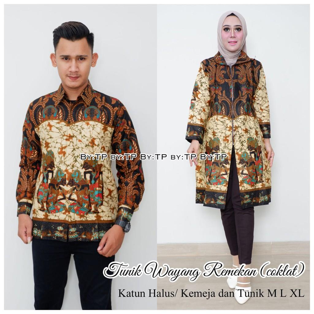 Couple Tunik Wayang Remekan Coklat batik couple