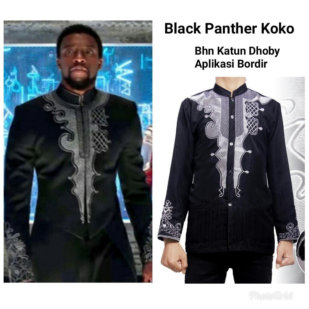 Miracle Atasan Kemeja Koko Black Panther Baju Muslim Batik Lengan Panjang Pria