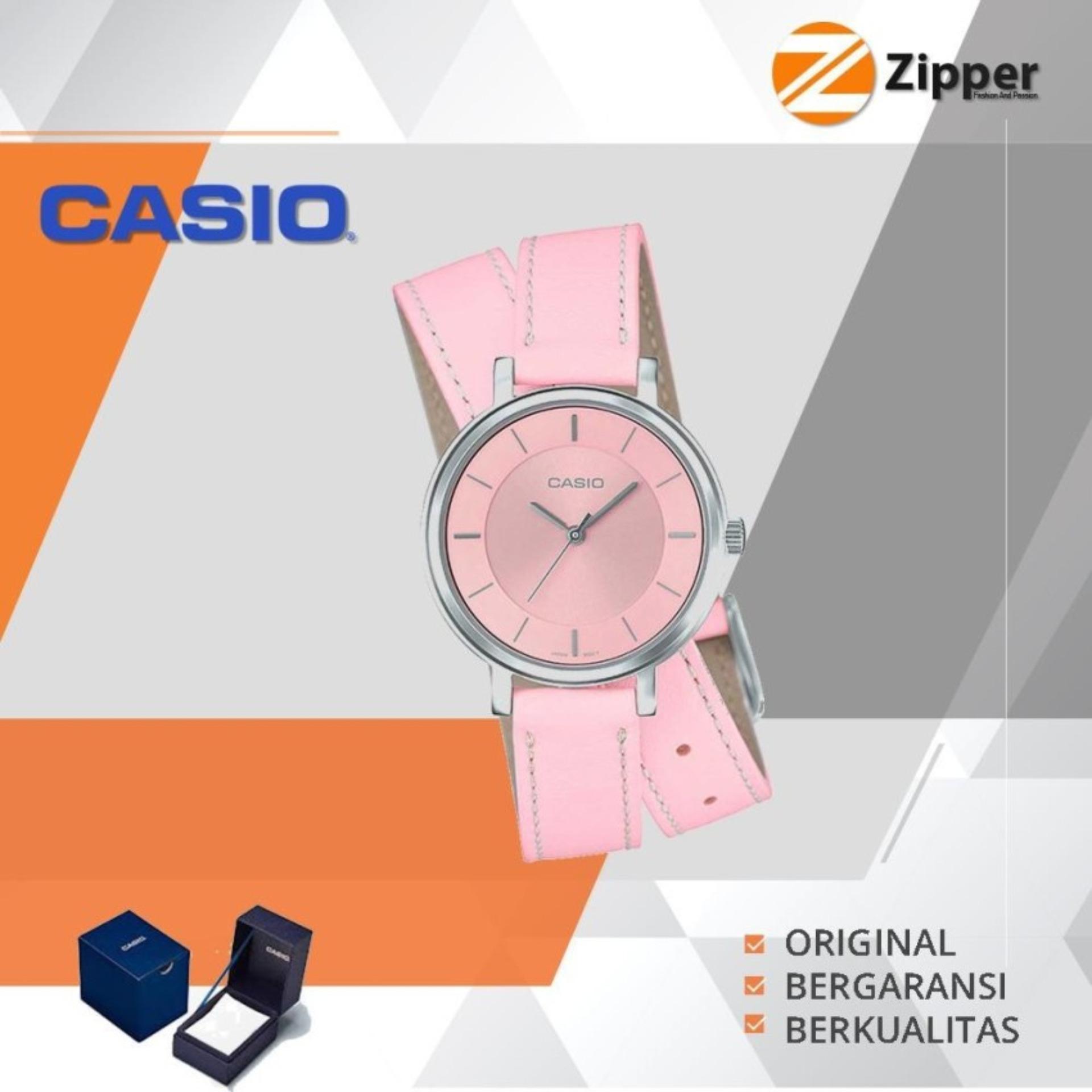 Casio Analog Jam Tangan Wanita Tali Kulit Loop LTP-E143DBL Series