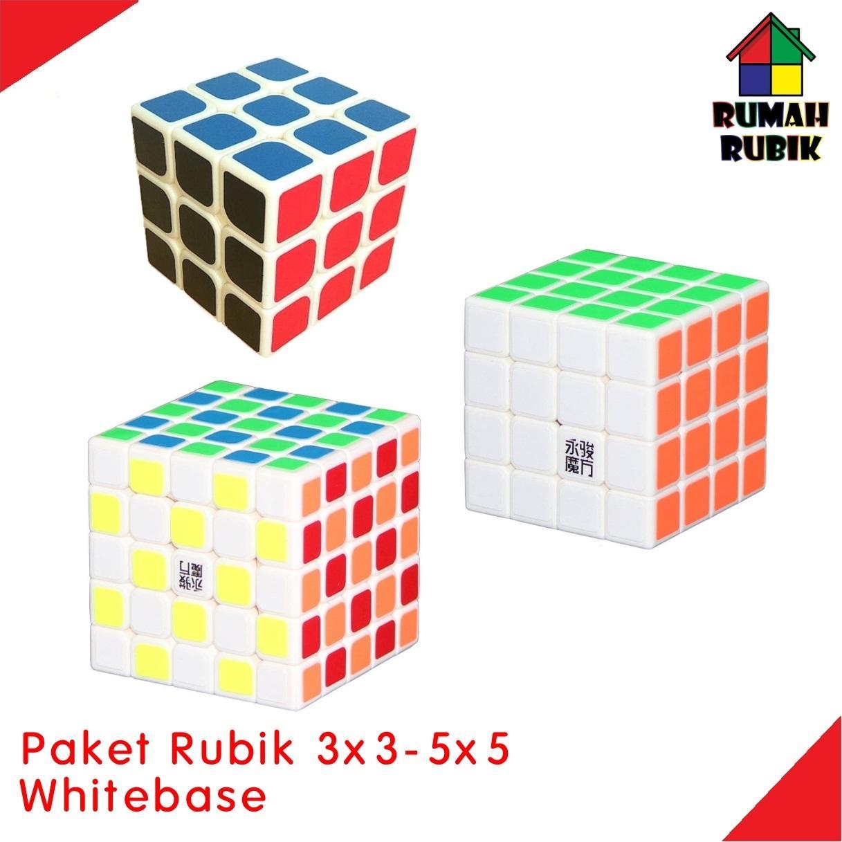 Paket Rubik YJ 3x3 Brains Cube W + YJ 4x4 Guansu W + YJ 5x5 Yuchuang